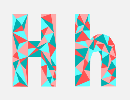 Letter H, low poly alphabet, geometric style. Abstract Vector illustration.