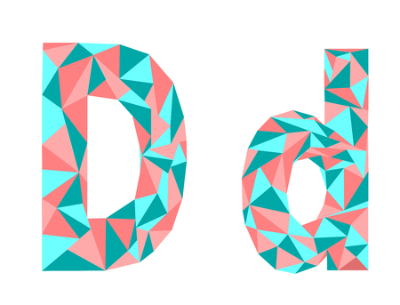 Letter D low poly vector illustration  イラスト・ベクター素材