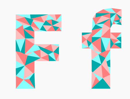 Letter F,low poly alphabet,geometric style.Abstract vector.
