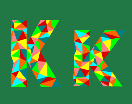 Letter K,low poly alphabet,geometric style.Abstract vector. Ilustrace