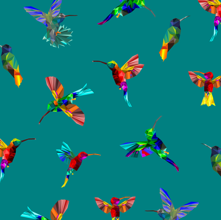 Pattern with Low poly colorful Hummingbird with abstract design.
