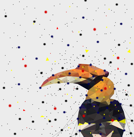 Abstract of Low poly hornbill bird with point connecting network,animal geometric concept,vector. Иллюстрация