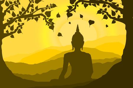 Estatua de Buda bajo el árbol de Bodhi (higuera sagrada) y la montaña en el fondo de la puesta de sol, puesta de sol, estilo de silueta Ilustración de vector