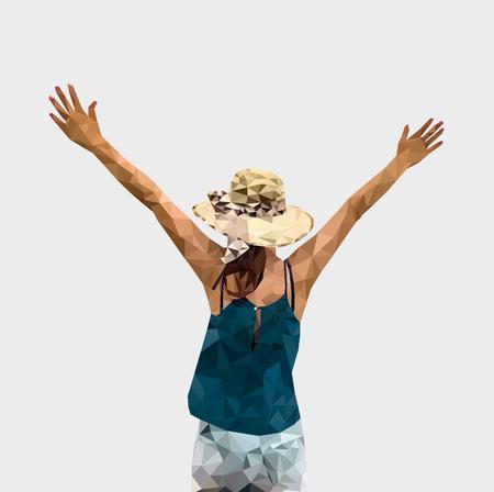 Low poly de mujer turista extiende los brazos, mujer de viaje en verano, estilo geométrico, polígono, ilustración vectorial