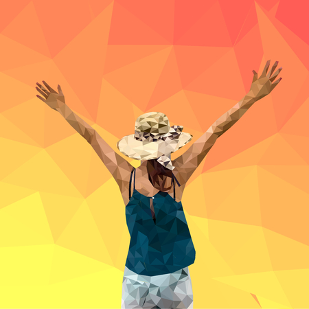 Low poly of woman tourist extend the arms, traveling female on summer, geometric, polygon style, vector illustration