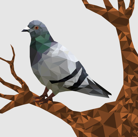 Low poly pigeon bird on dry tree with gray back ground,animal geometric concept,Abstract vector