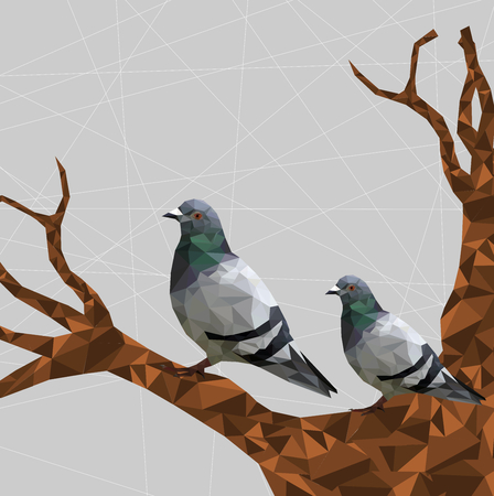 Low poly couple pigeon bird on dry tree with gray back ground,animal geometric concept,Abstract vector