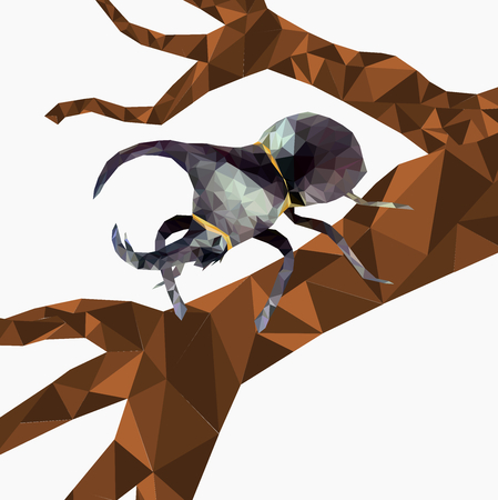 Isolated low pol  Dynastinae or rhinoceros beetles on tree,Abstract  insect,geometric style,Bug and nature with white background.