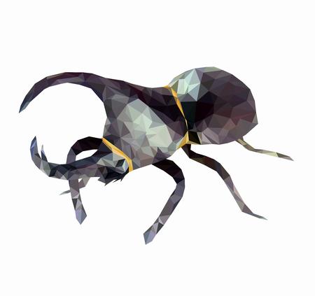 Isolierte Low pol Dynastinae oder Nashornkäfer auf Baum, abstraktes Insekt, geometrischer Stil, Bug und Natur mit weißem Hintergrund. Vektorgrafik