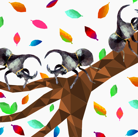 Isolated low poly Dynastinae or rhinoceros beetles with falling leaf on white background,Pattern of Abstract insect,geometric style,bug cartoon mocking up