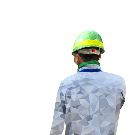 Isolated low poly of safety engineer on white back ground,geometric style,Abstract vector