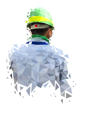 Isolated low poly of safety engineer on white back ground,geometric style,Abstract vector Vetores