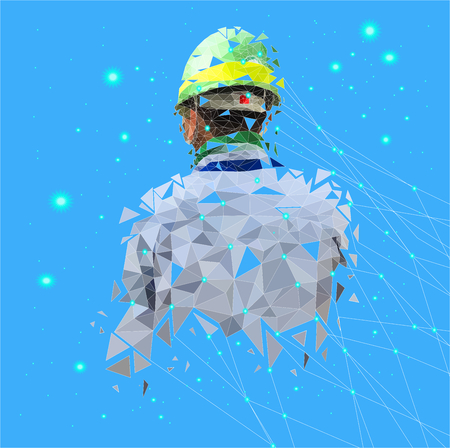 Isolated low poly of safety engineer with point connecting network on space back ground,geometric style,Abstract vector