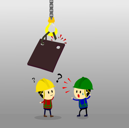 Accident from lifting chain holding heavy metal sheet above worker,unsafe situation,safety engineering cartoon style,Vector illustration