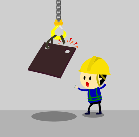 Accident from lifting chain holding heavy metal sheet,unsafe situation,safety engineering cartoon style,Vector illustration Stock Illustratie