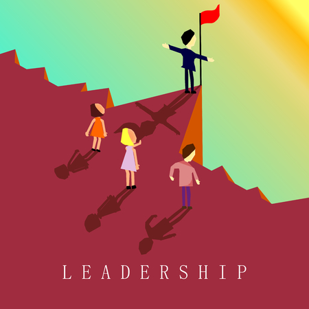 Businessmen standing on top of cliff ,Res flag on dangerous way with sunlight,Leadership concept,Vector.