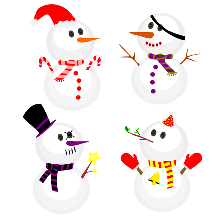 Set of winter snowman, Collection of snowmen in different costumes Illustration