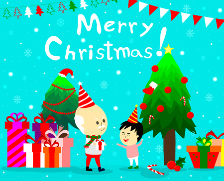 Merry christmas background with boy and oldman