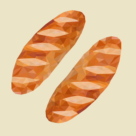 low poly of French breads,dairy product vector,food illustration.