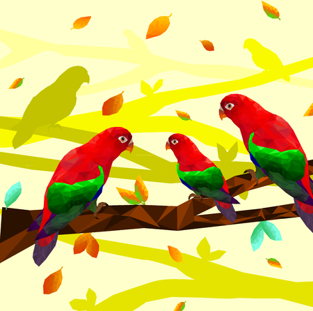 Low poly colorful red parrot bird with tree on back ground, birds on the branches ,animal geometric concept,vector