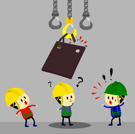 Accident from lifting chain holding heavy metal sheet above worker,unsafe situation,safety engineering cartoon style,Vector