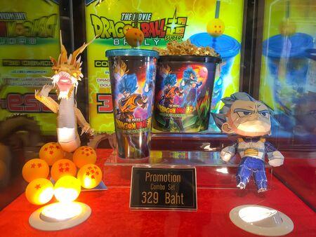 Nakhon Ratchasima/Thailand - Apr 12 2019:dragon ball tumbler cup and Popcorn bucket set super broly the movie on shelf at the cinema. Sajtókép