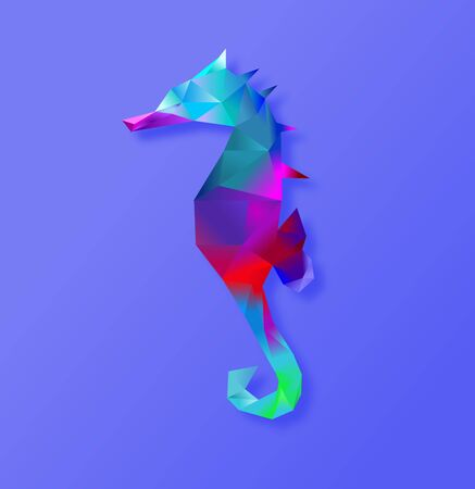 Seahorse in geometric pattern,seahorse with low poly style. Illusztráció
