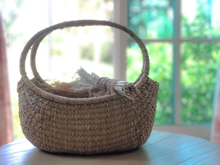 Wheat or rice on basket with indoor background. Stock fotó