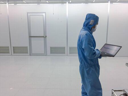 Blurred engineer Inside Clean room class 1000 with emergency door at factory,empty room Stock fotó