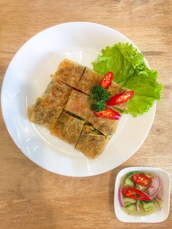 Murtabak roti with Thai Cucumber Relish