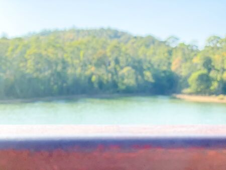 Empty wooden with blurred river and nature background