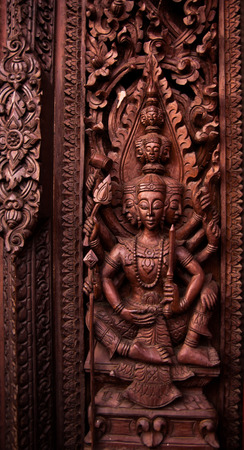 dhamma: Pattern on the door in temple.