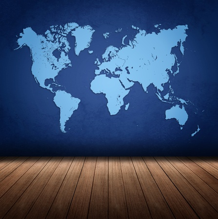 blue world map in blue textured background style rough world. in a room with beautiful wood floors. Stock Photo - 9544099