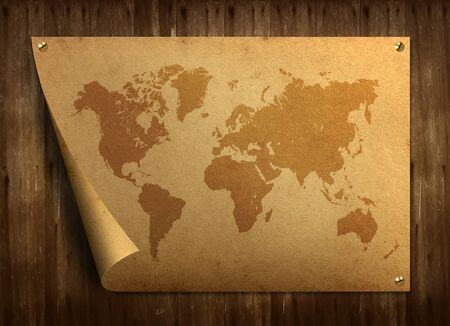 World map on old paper. Stuck on the old wooden floor.  photo
