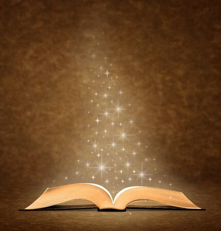 open bible: open old book. has a graphic star Image at the top of the book