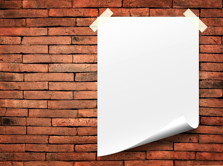 paper textures: white paper notes. Stick tape on the orange brick wall Stock Photo