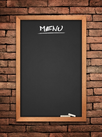 Menu blackboard on wall background photo