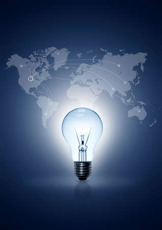 light bulb on blue background world map online international Stock Photo - 9767811