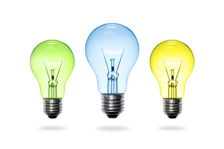 conceptual ideas: colorful light bulb on white background.