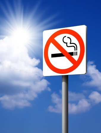 signs No smoking. on the blue sky background.  photo