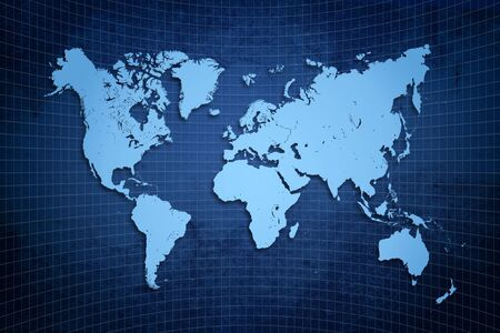 blue world map in blue textured background style rough world Stock Photo - 9868290