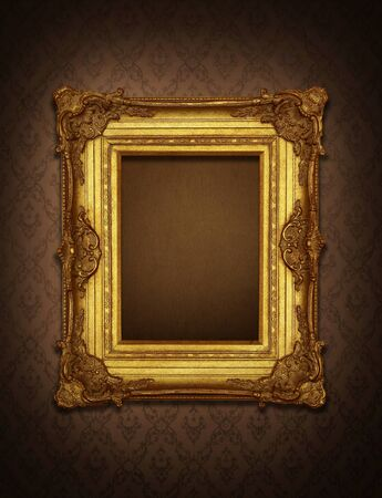 antique asian: Gold frame stuck on the wall wallpaper thai the dark.  Stock Photo