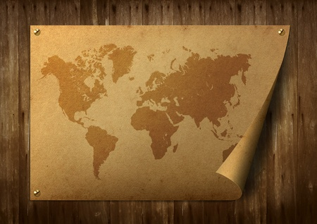 World map on old paper. Stuck on the old wooden floor. Stock Photo - 9868107