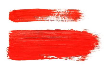 verschmieren: Rote Farbe Plakat Pinsel isoliert auf wei�em Hintergrund