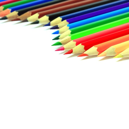 Various colored pencils on white background.  Stock Photo - 9868086