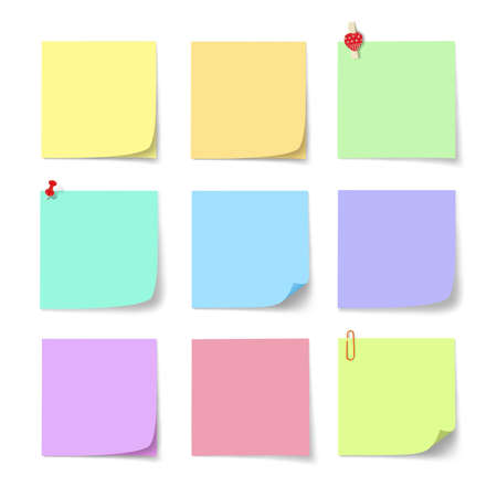 colorful paper note on white background Stock Photo - 9868081
