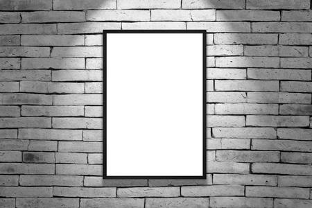 construction frame: One black frame on gray brick wall Stock Photo