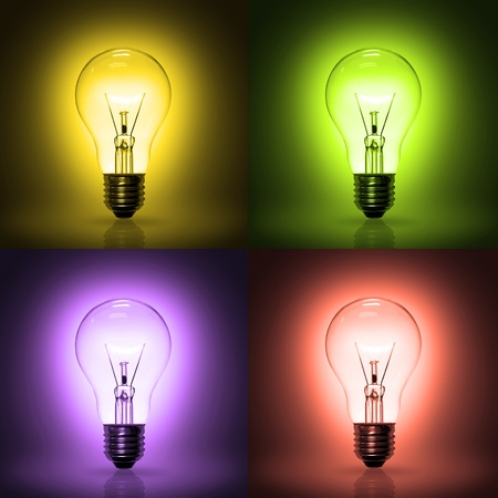light bulb on colorful background.  photo