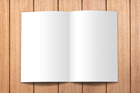 open white book on wood Stock Photo - 9868101