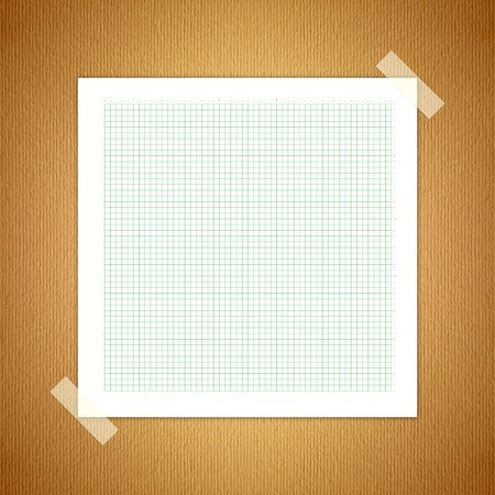 paper pin: Green Line graph paper, old paper laying on the ground.  Stock Photo